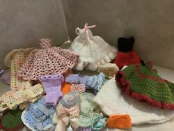 Crocheted Barbie Clothes Over 20 Pieces 60s 70s Era $25.00