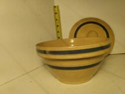 Rare Blue And White Banded 7.5 Covered Bowl, Watt Pottery Yellow Ware