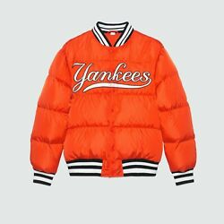 Menand039s Bomber Jacket Ny Yankees Patch 534963 6528e Orange Down Quilted 50 L
