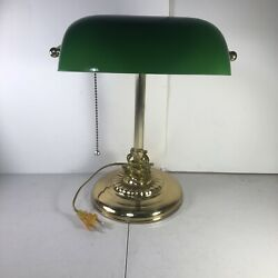 Mid Century Vintage Brass Piano Library Lamp Green Glass Cased Shade Bankers