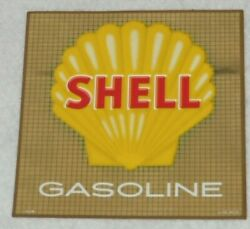 Shell Gasoline Gas Pump Decal Sign Vtg Gold Super Shell 1970s 6 X 5 1/2 5158