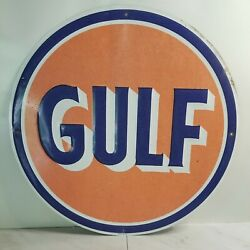 Vintage Weathered Gulf Petroleum Tin Metal Sign Usa Oil Gas Station Auto Truck