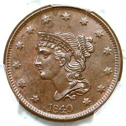 1840 N-6 Pcgs Ms 64 Bn Lg Date Braided Hair Large Cent Coin 1c