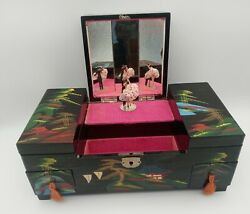 Vintage Japanese Black Lacquer And Shell Dancing Couple Music Jewelry Box Works