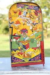 Antique Happy Time Pinball Tabletop Marble Game 5 In 1 Baseball Pennants Old Toy
