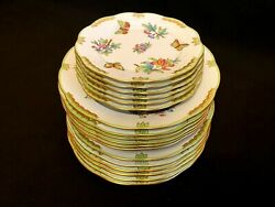 Herend Porcelain Handpainted Queen Victoria Dinnersoup And Dessert Plates18pcs