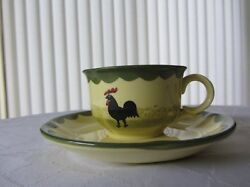 Vintage Zeller Fayencerie 1794 Cockerel Rooster Coffee 4cm Cup And Saucer