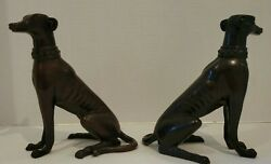 Pair Vintage Dark Brown Whippet Greyhound Dog Statues Figurines Bookends Collect