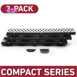 Trench And Channel Drain Kit W/ Stainless Steel Grate Black/metallic 3 Pack New