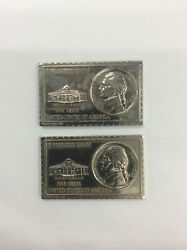 Set Of 2 1938 Us Jefferson Nickel 5 Cents Numistamp Medal Coin Mort Reed 1973