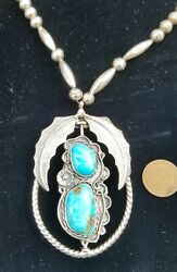 Sterling Silver Turquoise Coral Spinner Necklace Stunning Native American Signed