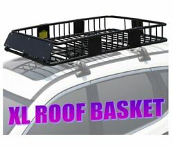 Xl 500 Lb Rooftop Rack Luggage Cargo Carrier Basket W/ Extension Fit Car Van Suv