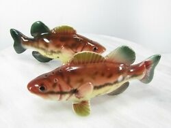 Vtg Fish Large-mouth Bass Salt And Pepper Shakers Set Made In Japan Gloss Glazed