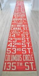 Vintage New York City Omnibus Bus Route Roll Sign South Ferry Columbus Circle Ny