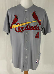 Yadier Molina 4 St. Louis Cardinals Road Gray Authentic Majestic Men's Jersey