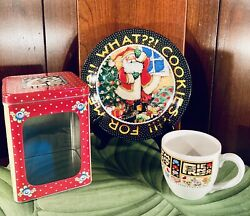 Mary Engelbreit What Cookies For Me Santa Plate Me Family Teacup Me Tin -lot 3