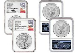 2021 S And W Reverse Proof Silver Eagle Set Ngc Pf70 Fr Mercanti Gaudioso Signed