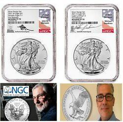 2021 S W Silver Eagle Reverse Proof Two-piece Set Ngc Pf70 Mercanti - Gaudioso