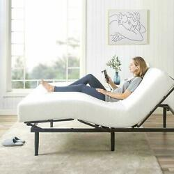 Queen Adjustable Bed Base Electric Steel Frame Wired Remote With 14 Mattress
