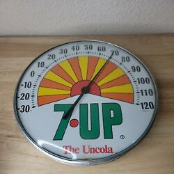 Vintage 7up The Uncola Advertising Round Thermometer Sign Seven-up Soda Works