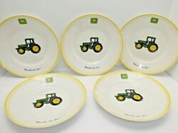 """5 John Deere Tractor Gibson 9"""" Salad Bowls Dishes Nothing Runs Like A Deere"""