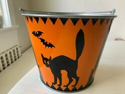 Rare Vintage Martha By Mail Halloween Cat Trick Or Treat Bucket Pail Metal Large