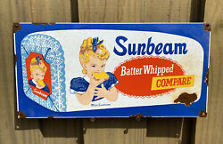 Vintage Sunbeam Bread Porcelain Sign Batter Whipped Oil Gas Grocery Food Store