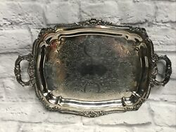 Poole Silver Co Taunton Lancaster Rose Scalloped Cocktail Appetizers Tray B9