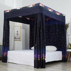 Mengersi Canopy Bed Curtains Pattern Bed Drapes Bedroom Decoration King, Black