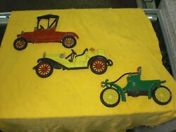 Vintage 1970s Sexton Cast Iron Car Set Of 3 Cars Yellow, Green And Red