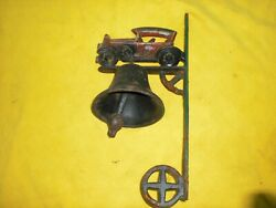 Vintage Cast Iron Wall Mount Bell With Car On Top