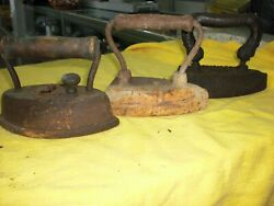 Vintage Sad Irons Cast Iron Lot Of 3 Heavy All Different 1900's Flat Irons