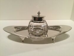 Nice Solid Sterling Silver Inkwell And Desk Stand Birmingham 1904