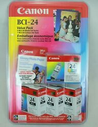 Canon Bci-24 Value Pack Printer Ink 3 Black/1 Colour New Sealed Packaging