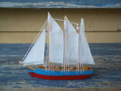 Model Ship Boat Red + White + Blue Berkeley Designs Toy Wood Cloth String China