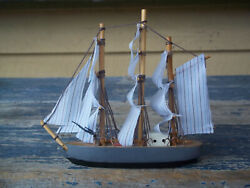 Model Sailing Ship Boat Red White Blue Gray Black Brown Toy Wood Cloth Thread