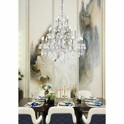 Asfour Crystal Chrome Foyer Dining Room Ceiling Chandelier Fixture 24 Light 49