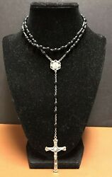 Vintage Catholic Sterling Silver And Black Bead Rosary 19 Long