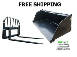Es New 84 Snow/mulch Bucket And 48 Standard Pallet Forks Combo Skid Steer