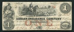 1853 1 The Adrian Insurance Company Adrian Michigan Obsolete Currency Noteandnbsp
