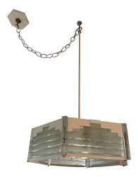Vintage 1970's Lucite And Brass Hanging Light Fixture