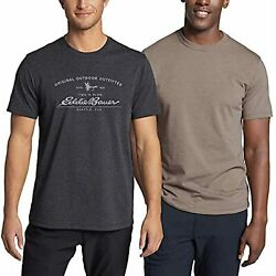 Eddie Bauer Men's 2 Pack Graphic And Crew T-shirts Ties And Flies, Large