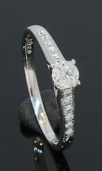 18 Carat White Gold Diamond Solitaire Ring With Accents 0.37ct Size O 70.21.071