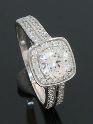 9 Carat White Gold Cubic Zirconia Cluster Ring With Accents Size N 70.21.070