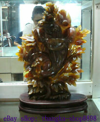 20.4 Unique China Natural Agate Carved Fengshui Flower Tree Bird Statue