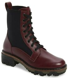 Rag And Bone Shiloh Womenand039s Leather Lace Up Combat Boots In Merlot Size 37 / Us 7