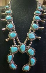 Vintage Native American Sterling Turquoise Squash Blossom
