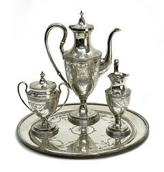 S. Kirk And Sons Sterling Silver Tea Set Service Circa 1900. Florals And Scrolls