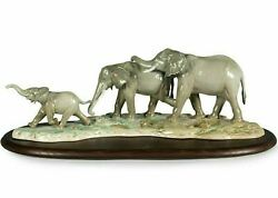 Lladro Elephants We Follow In Your Steps Sculpture 01009388
