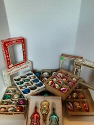 Vintage Shiny Brite Mercury Glass Christmas Ornaments Lot Of 59 Unsilvered Mixed